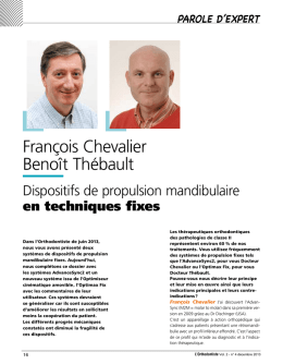 Article L`Orthodontiste F Chevalier sur Advansync