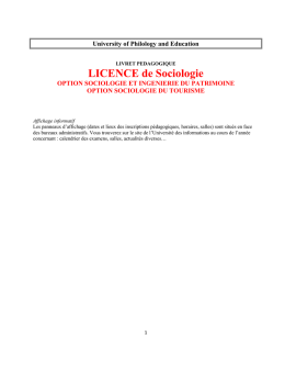 Licence de SOCIOLOGIE - University of Philology and Education