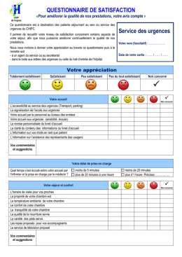 Questionnaire de satisfaction_Service des Urgences