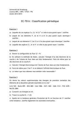 EC-TD 6 : Classification périodique