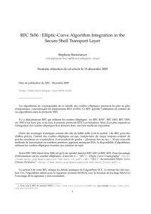 RFC 5656 : Elliptic-Curve Algorithm Integration in the Secure Shell