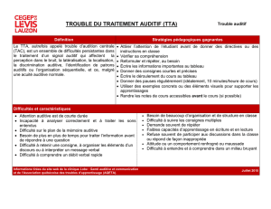 TROUBLE DU TRAITEMENT AUDITIF (TTA)