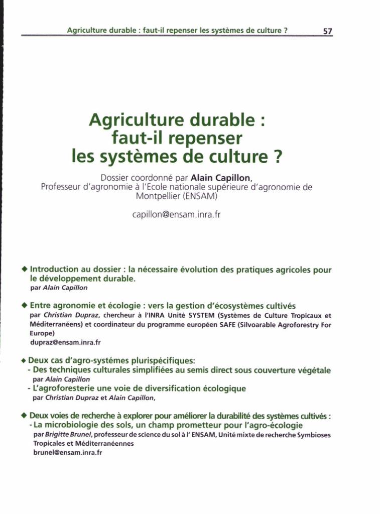 Agriculture durable : faut-il repenser les systèmes