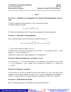 Exercice-1 : Equation de propagation du champ éléctromagnétique