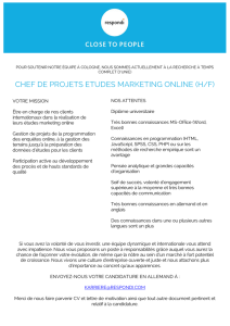 CHEF DE PROJETS ETUDES MARKETING ONLINE (H/F)