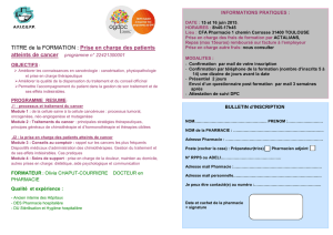 TITRE de la FORMATION : Prise en charge des patients
