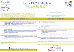 1st SUNRiSE Meeting - Institute of Biology Valrose