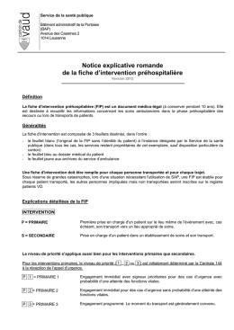 Notice explicative romande de la fiche d`intervention préhospitalière