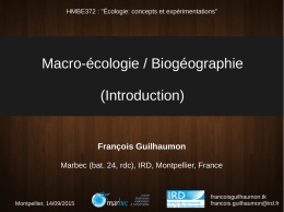 Macro-écologie / Biogéographie (Introduction)