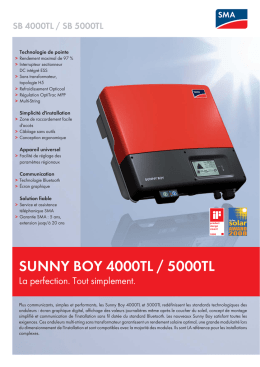 SUNNY BOY 4000TL / 5000TL - La perfection. Tout simplement.