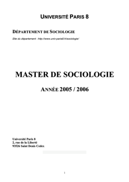 Master de sociologie, université Paris 8