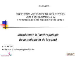 Introduction à l`anthropologie de la maladie et de la santé