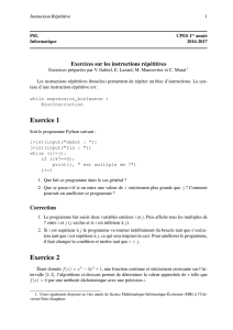 Algorithmique et Applications en CPES2