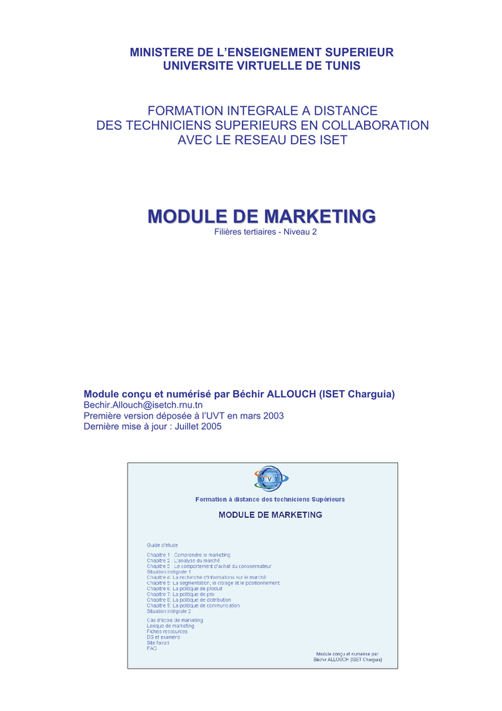 foto de Module de marketing - Cours gratuit et exercices corrigés