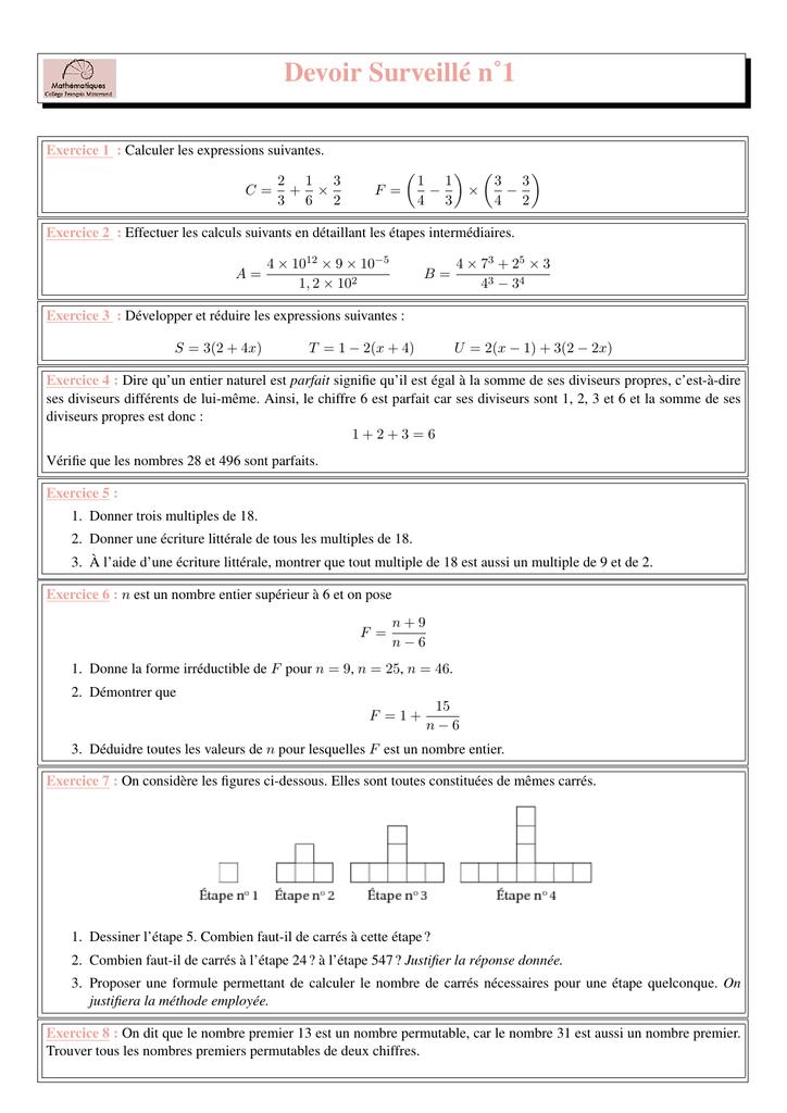 Devoir Surveille N 1 Maths