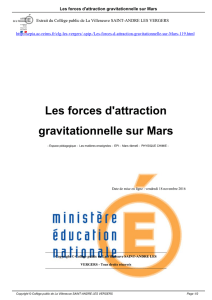 Les forces d`attraction gravitationnelle sur Mars