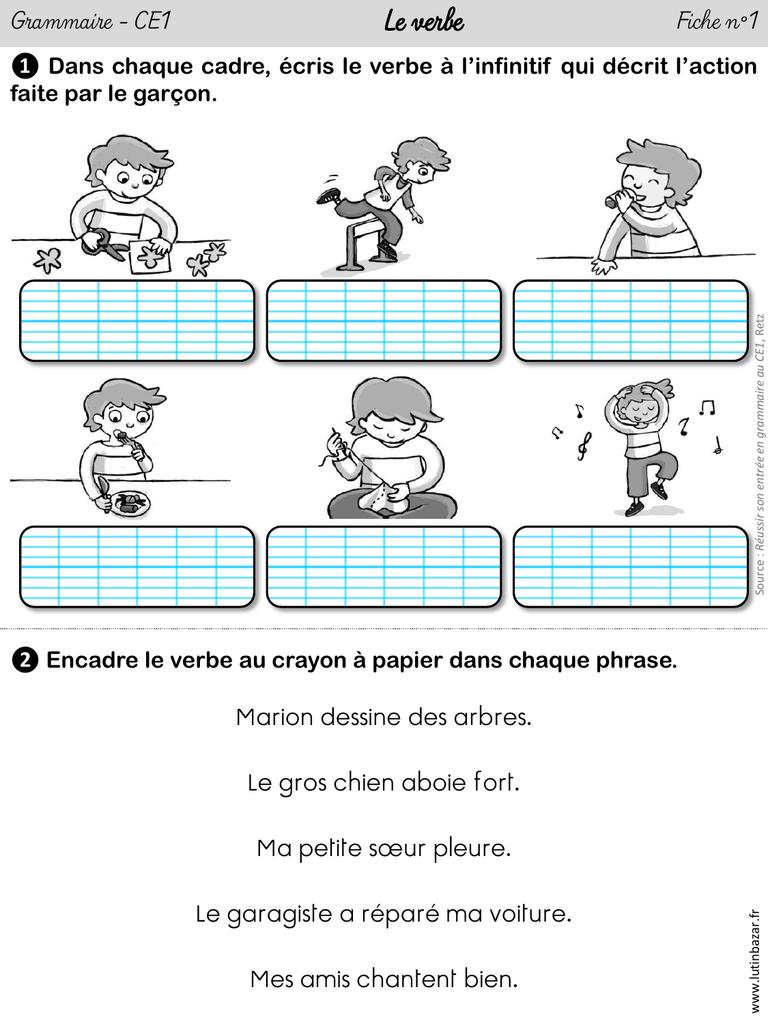 4 fiches d`exercices « Le verbe