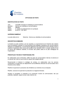 Conseiller principal en marketing et communications Direction