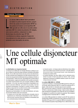 Une cellule disjoncteur MT optimale
