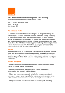 CDD - Responsable Etudes Audience digitale et Trade marketing