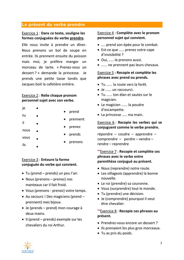 Exercice 1 Dans Ce Texte Souligne Les Formes Conjuguees Du Verbe