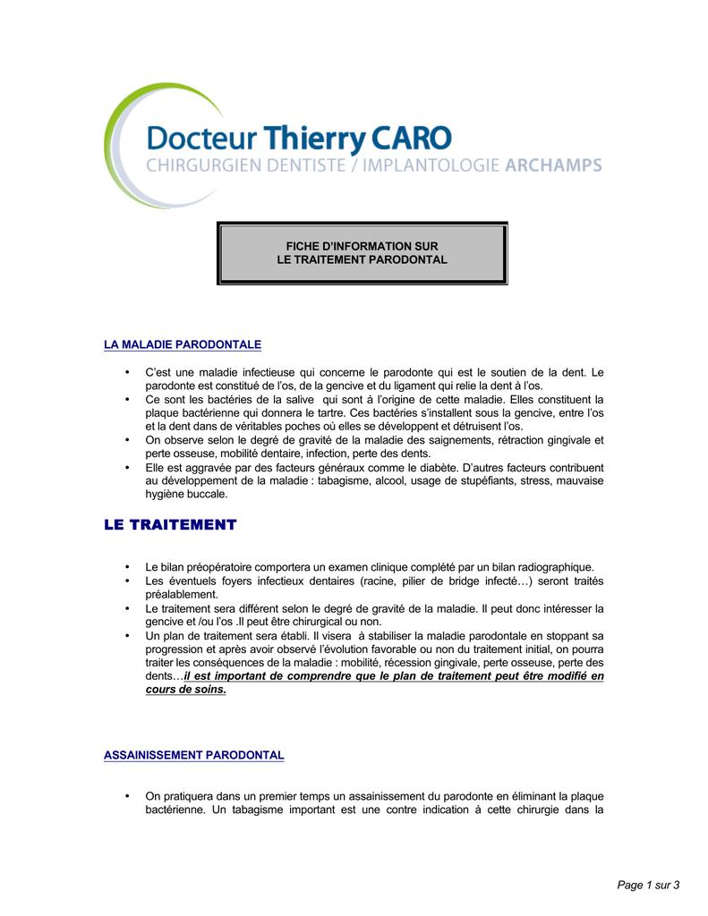 Fiche D Information Sur Le Traitement Parodontal