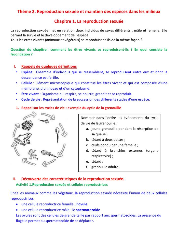 mécanisme favorisant la rencontre des cellules reproductrices