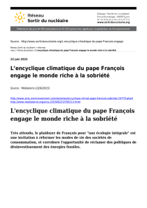 L`encyclique climatique du pape François engage le monde riche à