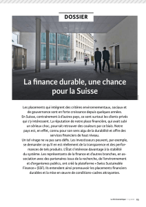 investissements durables - Swiss Sustainable Finance