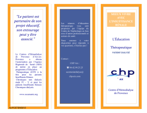 Brochure programme ETP patients dialysés CHP-AIX