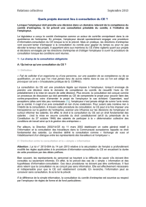 Relations collectives Septembre 2013 Quels projets