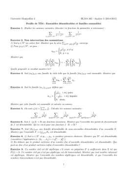 Université Montpellier 2 HLMA 302 - Analyse 3 (2014