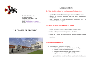 la classe de seconde - Institution Sainte Catherine Villeneuve sur lot