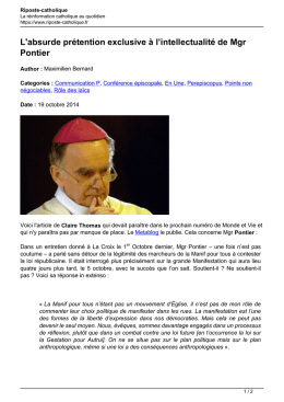 absurde prétention exclusive à l`intellectualité de Mgr Pontier
