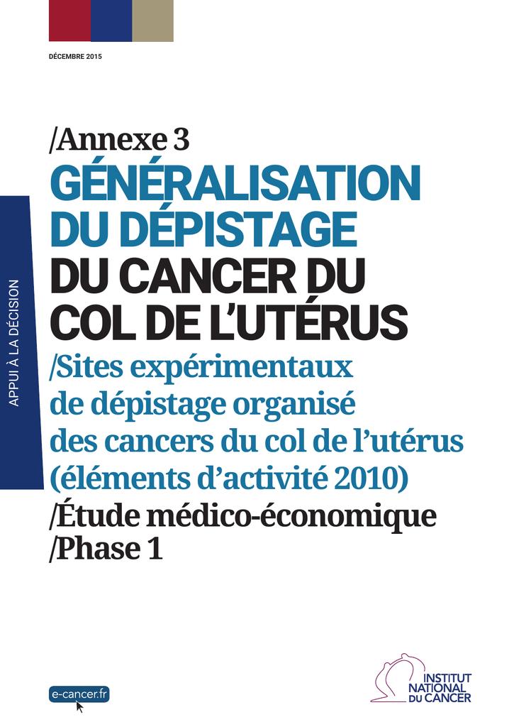 Généralisation Dépistage L`utérus De Col Cancer Du WrCedxoB