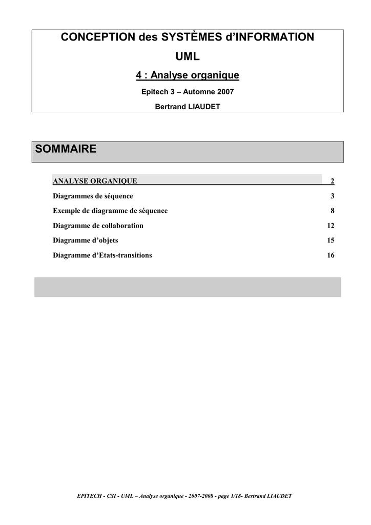 Conception Des Systèmes Dinformation Uml Sommaire