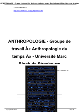 Anthropologie du temps » - Université Marc Bloch de