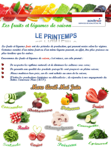 Fruits et légumes de saison - Institution Jeanne D`Arc