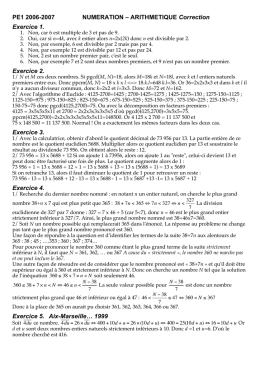 PE1 2006-2007 NUMERATION – ARITHMETIQUE