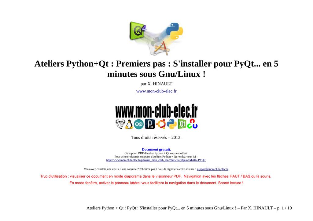 Ateliers Python+Qt : Premiers pas : S`installer pour - Mon