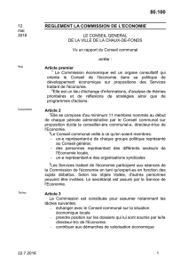 REGLEMENT LA COMMISSION DE L`ECONOMIE