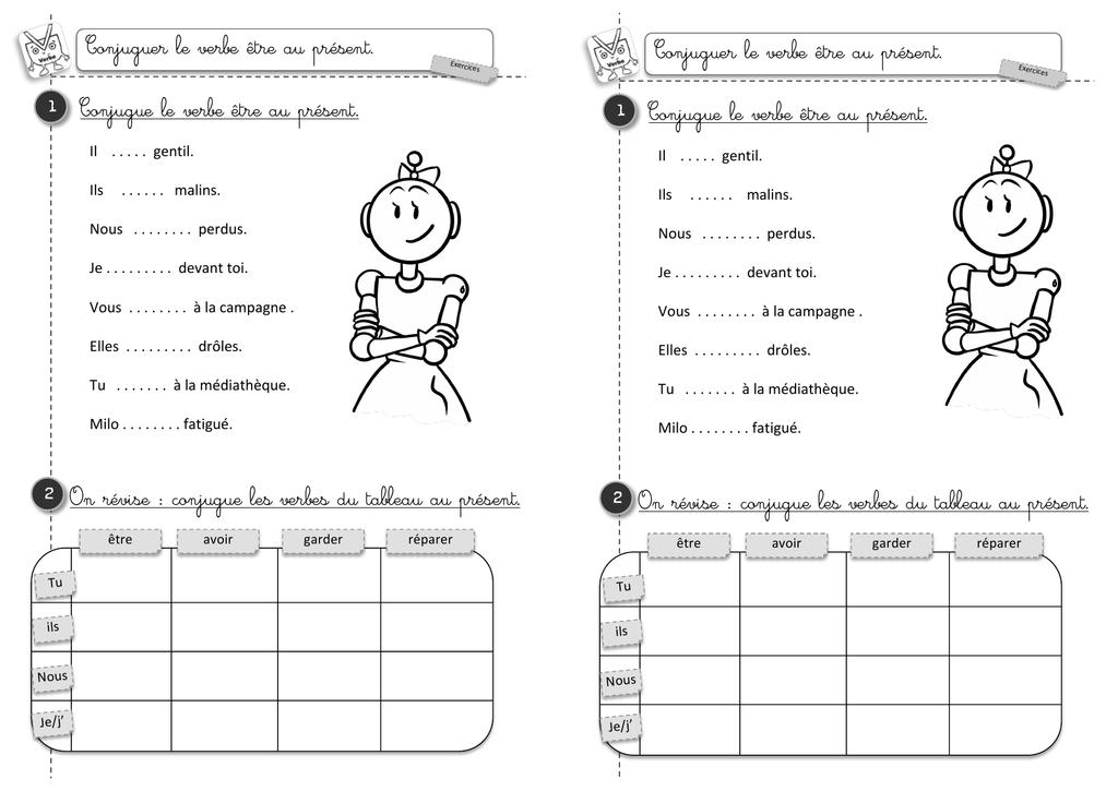 Exercices Conjugaison Du Verbe Etre Au Present