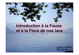 Introduction à la Faune et à la Flore de nos lacs
