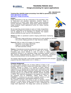TRAINING PERIOD 2016 Image processing for space applications