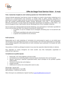 Poste : assistant chef de projet marketing