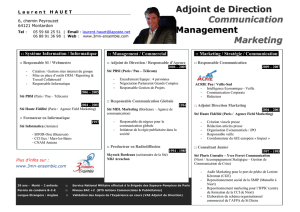 Adjoint de Direction Communication Management Marketing