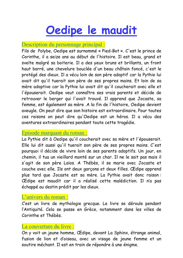 Oedipe le maudit resume du livre kurt cobain thesis