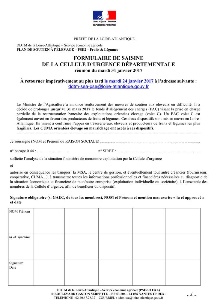 Formulaire De Saisine De La Cellule D Urgence Departementale