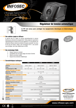 Documentation Régulateur de tension R1 600 Rec
