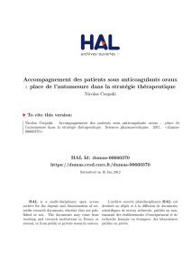 Accompagnement des patients sous anticoagulants oraux : place de
